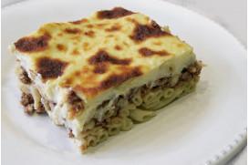 "Baked Pasta Casserole ""Pastitsio"" with Rich Bechamel Sauce & Ground Beef"