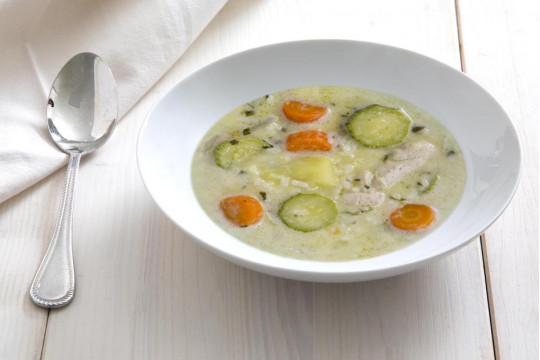 Chicken soup with egg-lemon sauce, vegetables and rice