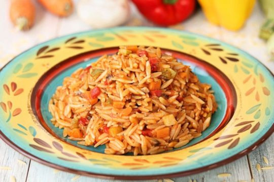 Orzo with freshly picked vegetables