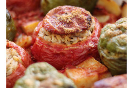 "Tomatoes and Peppers Stuffed with Groats, Raisins, Pine Nuts and Herbs ""Gemista"" Meal Kit"