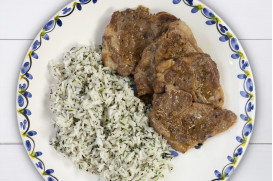 Zesty lemon pork with white wine, fresh herbs and basmati rice