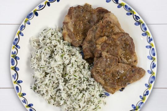 Zesty lemon pork with white wine, fresh herbs and basmati rice