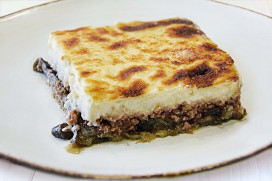 Moussaka with roast eggplants, ground beef and rich bechamel sauce
